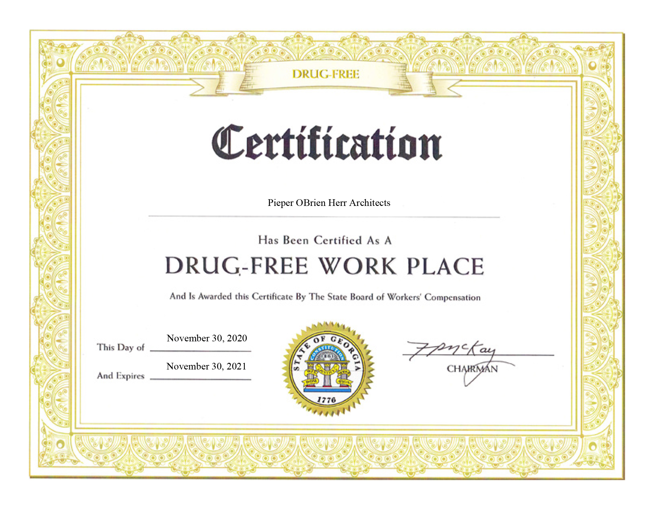 POH Drug Free Workplace Certificate